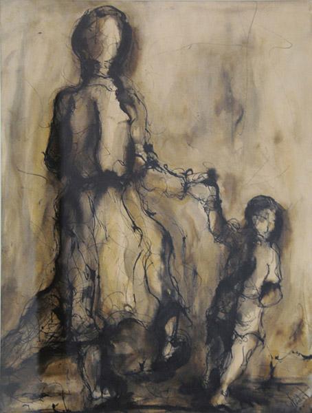 LA FUGA (1966). Tinta sobre papel, 46 x 53 cm. Colección Eduardo León Jimenes