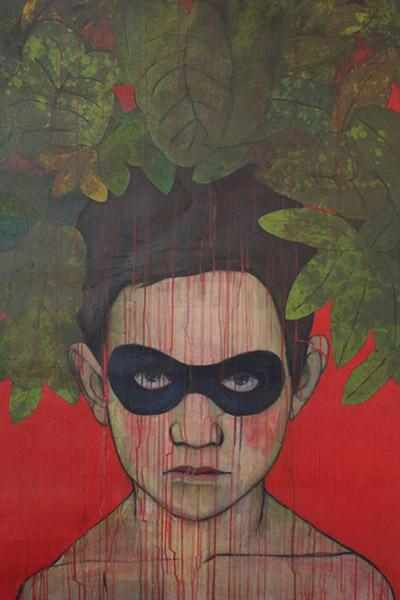 NO ME VES PERO YO TE VEO II (2014). Mi disfraz favorito (2014). Acrílico sobre canvas. 89 cm x 130 cm y 117 cm x 198 cm