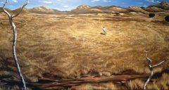 NOCTURNO UPSIDE DOWN (2012). Acrílica sobre canvas, 203 x 90 cm