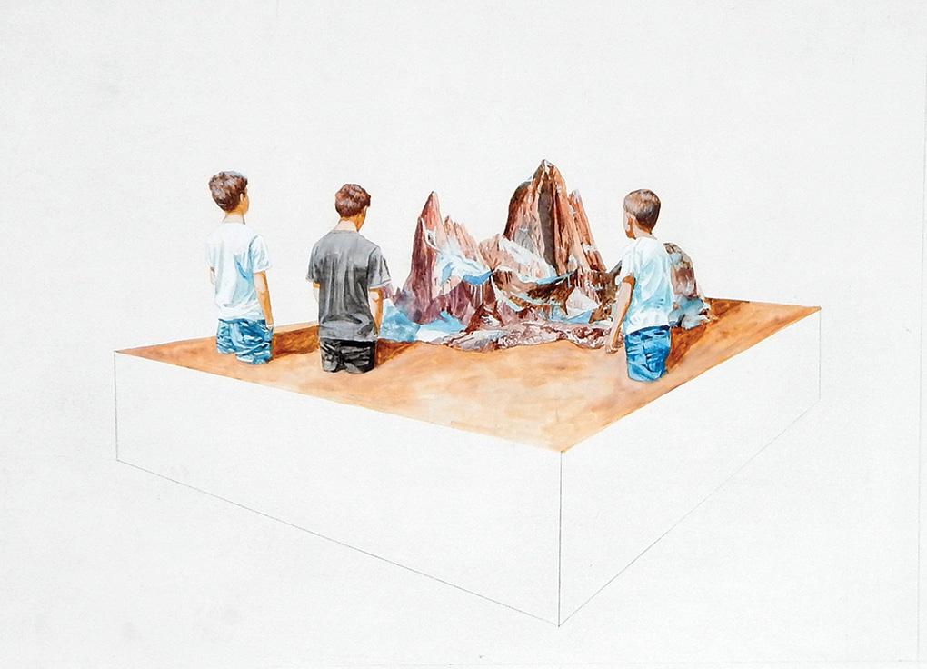 OBSERVADORES, 2018. Acuarela y acrílico sobre tela. 20 x 24 pulgadas